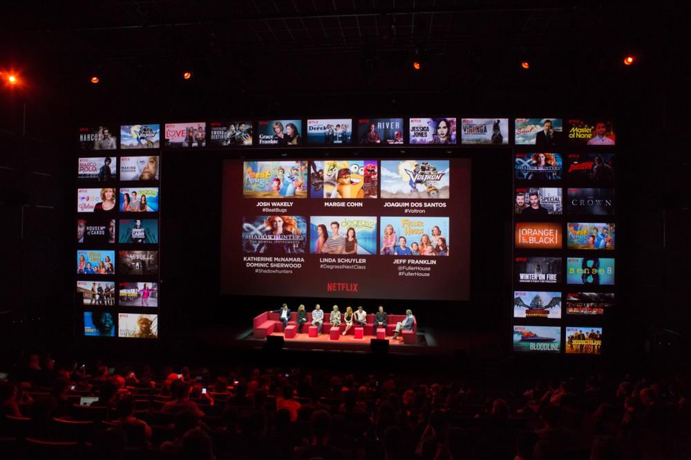 Netflix Event, Paris 11.04.2016 Kids & Family Panel (L-R) Josh Wakley, Margie Cohn, Joaquim Dos Santos, Linda Schuyler, Katherine McNamara, Dominic Sherwood, Jeff Franklin