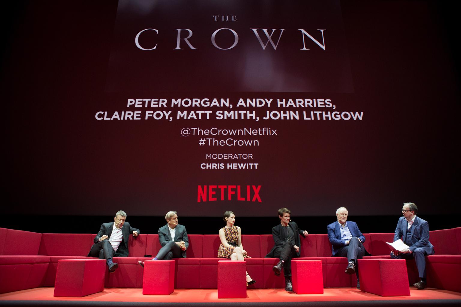 Netflix Event, Paris 11.04.2016 The Crown Panel (L-R) Peter Morgan, Andy Harries, Claire Foy, Matt Smith, Jon Lithgow, moderator Chris Hewitt