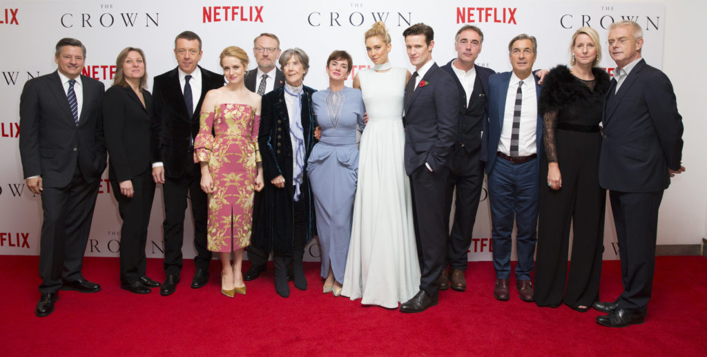 London UK : Ted Sarandos, Cindy Holland, Peter Morgan, Claire Foy, Jared Harris, Dame Eileen Atkins, Victoria Hamilton, Vanessa Kirby, Matt Smith, Greg Wise, Andy Harries, Suzanne Mackie and Stephen Daldry